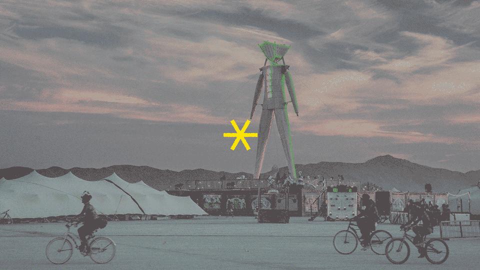 estátua construída no festival Burning Man
