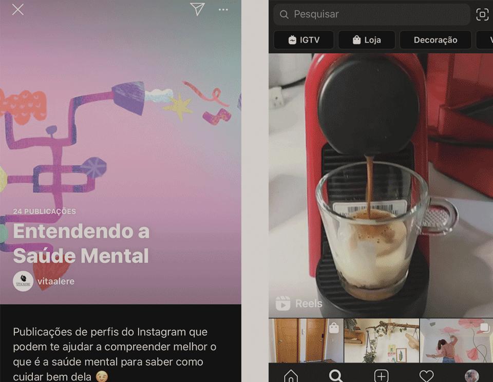 Publicações e local das guias Instagram